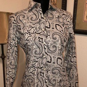 Lands' End Paisley Cotton Shirt Sz 10